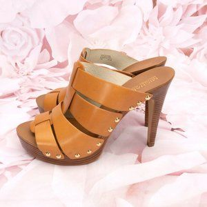 Michael Kors Strappy Leather Open Toe Heels Shoes